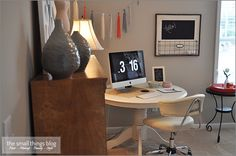 Office Table Here's a little peek into my office! I took these photos weeks ago, and now it… Round Office Table, Round Desk, Dining Room Office, Guest Room Office, Home Office Space, Office Workspace, Home Office Decor, Round Dining, Home Decor