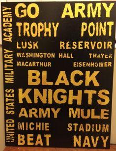 USMA Black Knights wood sign 18 x 24 inches West Point Football by MerryMaryinNC, $49.99