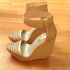 BCBG Max Azria futuristic wedges Nude closed toe wedges. Great condition. Signs of wear are shown in picture. Velcro ankle strap and very comfortable! BCBGMaxAzria Shoes