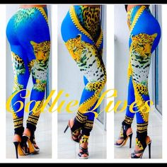 """Blue Tiger Versace-esque BodyCon Plus Sz Leggings Tag Size: One Size Plus Fits: Large, 1XL, and up to 2X Measurements Laid Flat (Double for Minimum fit) Waist 13""""  Hips 20"""" Length 38"""" Inseam 27.5"""" These leggings should fit a Waist 36""""-44"""" and Hips 40""""-50"""".  I'm wearing this size in the photos. My waist is 30"""" and my hips are 42"""".  I weigh 155 lbs at 5'6"""". Just add a solid crop top, a Sheer tank or a cross body clutch from other listings by Callie Lives LaLaLand and you have a brand new…"""