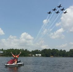 This lady got a nice view of the Blue Angels practicing! Sent in by WEAR viewer Lisa Paparella Shryock. Pensacola Florida, Blue Angels, Military Aircraft, Nice View, Airplanes, Fighter Jets, Blues, Lisa, Spaces