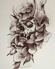 Japan Tattoo Design, Tattoo Design Drawings, Skull Tattoo Design, Tattoo Sketches, Sketch Drawing, Dark Art Tattoo, Body Art Tattoos, Sleeve Tattoos, Side Tattoos