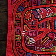 Vintage Kuna Mola Textile / Reverse Applique / Cat by SPUNKvtg, $45.00