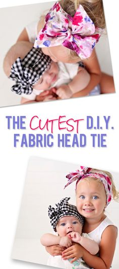Diy fabric head tie for girls, sewing tutorial for beginners Making Hair Bows, Diy Hair Bows, How To Make Baby Hair Bows, Bow Making, Sewing For Kids, Baby Sewing, Sewing Diy, Headband Bebe, Diy Big Bow Headband