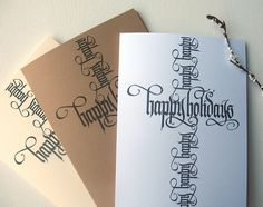 Calligraphy Christmas Cards by Alice Young, via Behance