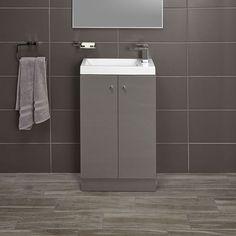 Alpine Duo 495 basin and floorstanding vanity unit - gloss grey | bathstore