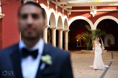 First look with Sabrina and Michael.  Sabrina was wearing one of the most beautiful dresses, by Inbal Dror, Michael was sure to cry.  Their destination wedding in Mexico was in one of the most epic wedding chapels, the Xcaret Guadalupe Chapel in Playa del Carmen.