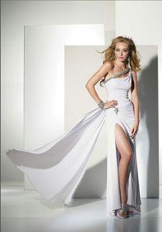 One Shoulder Chiffon Beaded Empire High Split Prom Dress