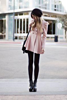 pink coat, black tights