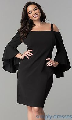 Shop plus-size short off-the-shoulder dresses under $100 at Simply Dresses. Cold-shoulder party dresses with removable straps and bell sleeves.