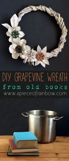 How to make wreath from old book pages! This vintage inspired grapevine book wreath makes a great Christmas wreath, and can be styled for all seasons! - A Piece Of Rainbow