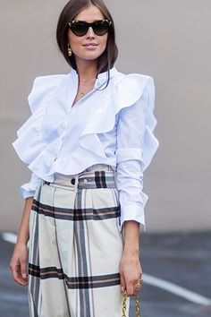 oslo street style white ruffle blouse check plaid trouser darja barannik