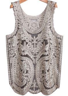 Black Sleeveless Embroidered Lace Gauze Vest - Sheinside.com