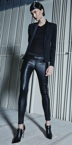 Alexis- Stara Legging. This Leather Legging Features Front Zipper Detail and an Elastic Waistband for a Perfect Fit.  * Dry Clean Only * Made in USA * Model is Wearing Size Extra Small
