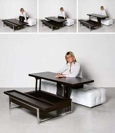 Convertible Coffee Table Desk Need to lose weight? Multifunctional Furniture, Smart Furniture, Space Saving Furniture, Furniture Makeover, Furniture Cleaning, Office Furniture, Bedroom Furniture, Modern Furniture, Outdoor Dining Furniture