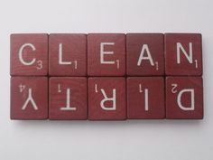 Simple and clever! Clean/Dirty Scrabble Dishwasher Magnet.