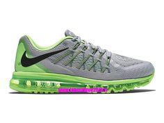 Officiel Nike Air Max 2015 Chaussures de Running Pour Homme Gris loup/Noir/Vert rayonnant/Citron flash 698902-005