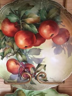 Apples by Andrew Orr, USA - Firebrickart Fruit Painting, China Painting, Tole Painting, Ceramic Painting, Hand Painted Plates, Hand Painted Ceramics, Cottage Art, Arte Floral, Painting Lessons