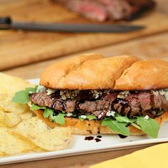 Balsamic and Blue Cheese Steak Sandwich from the National Beef Cook-Off.
