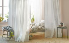 For bedroom ideas, how about creating privacy and controlling light with a cocoon around your bed? IKEA has lots of curtains like flowy, white VIVAN and a track rail system that can be mounted to the ceiling. Twin Canopy Bed, Canopy Bed Curtains, Diy Canopy, Ikea Canopy, White Curtains, Cama Ikea, Lit Convertible Ikea, Cosy Bedroom, Bedroom Decor