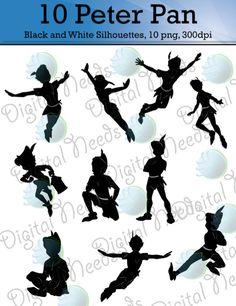 10 Peter Pan Silhouettes png and SOURCE files/ by DigitalNeeds