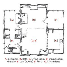 """Cottage Floor Plan - The layout follows that of a basilica with a large central nave and side aisles. """"The nave of the house is the living room,"""" says Ken, """"while the side aisles provide refuge for sleeping, bathing, and cooking."""" Upstairs, an open loft adds another retreat."""
