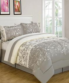 Gray & White Carson Reversible Comforter Set by Luxury Home #zulily #zulilyfinds