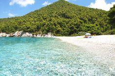 Kastani beach - Skopelos Where they filmed 'Mamma Mia' beach scenes Skopelos Greece, Skiathos, Paros, Beautiful Islands, Beautiful Beaches, Santorini, Places To Travel, Places To See, Greece Islands