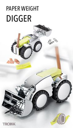 TROIKA DIGGER. Excavator, multi-functional table top vehicle: paper weight with magnet for paper clips, pen holder, sharpener and sticky note dispenser, with friction motor *** Schaufelbagger, Multifunktions-Tischfahrzeug: Briefbeschwerer mit Magnet für Büroklammern, Stiftehalter, Anspitzer und Haftnotizspender, mit  Rückziehmotor