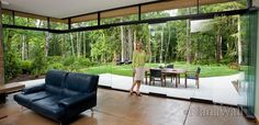 Glass walls with sliding panels