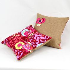 psychedelic fabric and burlap / coffee sack cushions