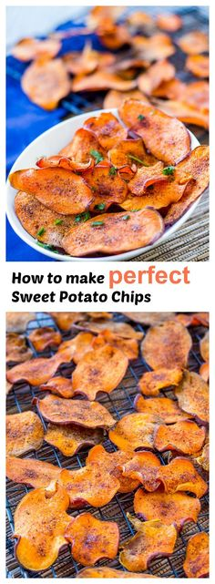 Sweet and Salty Sweet Potato Chips is part of Potatoes - Tips and tricks for perfect sweet potato chips Crispy, flavorful and guilt free with a zesty sweet and salty seasoning Betcha can't just eat one! Vegetarian Recipes, Snack Recipes, Cooking Recipes, Healthy Recipes, Diet Recipes, Cooking Videos, Crockpot Recipes, Cooking Tips, Recipies