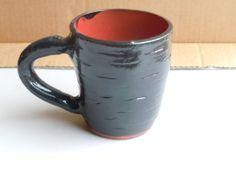Hand Made Ceramic Pottery Mug Hand Carved Black and Red Mug Large Mug