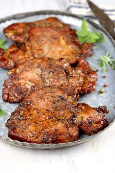 Easy Marinated Pork Chops are flavorful and delicious. Perfect for grilling or baking. Just a few simple pantry ingredients come together for an incredibly tasty dinner for any night of the week. Marinated Pork Chops Grilled, Balsamic Pork Chops, Baked Pork Chops, Grilled Meat, Grilled Pork Chops Boneless, Pork Loin, Easy Pork Chop Recipes, Best Soup Recipes, Pork Recipes