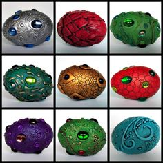 Gorgeous, handmade dragon eggs from Mandarin Moon… Egg Crafts, Easter Crafts, Crafts For Kids, Arts And Crafts, Theme Harry Potter, Harry Potter Diy, Polymer Clay Dragon, Polymer Clay Art, Dragon Egg