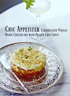 Caramelized Onion Cheesecake Appetizer by Spinach Tiger sub pork rinds or cheese crisps for crust or both or add bread crumbs etc Savory Cheesecake, Cheesecake Recipes, Cheesecake Bars, Vidalia Onions, Caramelized Onions, Appetizer Dips, Appetizer Recipes, Cheese Crisps, Cheese Platters