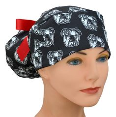 Womens Perfect Fit Ponytail Surgical Scrub Hat   Georgia Bulldogs Inspired   UGA Fan Natural Latex, Large Women, Georgia Bulldogs, Scrub Caps, Hats For Women, Ponytail, Scrubs, Perfect Fit, Most Beautiful