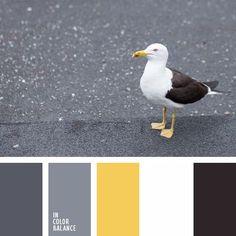 amarillo cálido, amarillo vivo, amarillo y blanco, amarillo y gris, amarillo y gris oscuro, amarillo y negro, blanco y amarillo, color de la lámpara, elección del color, gris y amarillo, gris y negro, matices del marrón grisáceo, matiz cálido del gris, negro y amarillo, negro y gris, paletas de