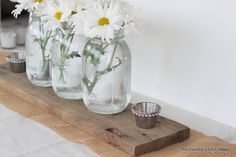 Love the simple sparkle of gems on the mason jar! -- Wedding Ideas -- Reception Table Decor with #DavidTuteraDIY ~ * THE COUNTRY CHIC COTTAGE (DIY, Home Decor, Crafts, Farmhouse)