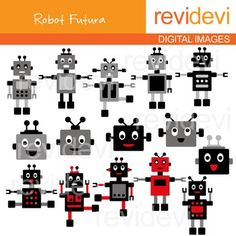 Robots Clip art - Black, Grey, Red. Robot Futura clipart set contains 15 digital graphics.This cute digital clipart set is great for teachers and educators. The collection is suitable for school and classroom projects such as for bulletin board, learning printable, worksheet, classroom decor, craft materials, activities and games, and for more educational and fun projects.You will receive:- Each clipart saved separately in PNG format, 300 dpi with transparent background.- Each clipart saved…
