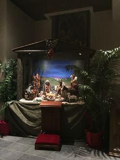 Antique plaster manger scene @ the Cathedral of Saint Andrew