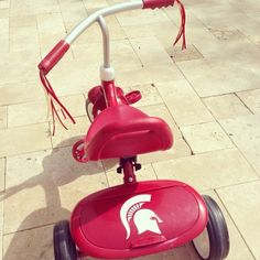 It feels like SPRING! Time to bust out the bikes and show your Sparty off! Michigan State University, Michigan State Spartans, Car Decals, Vinyl Decals, Spartan Life, Msu Spartans, Helmet Head, Spartan Helmet, Cornhole Boards