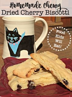 I think I've created a perfectly delicious version of chewy biscotti that is sure to be a hit with your kids! So here is my homemade chewy dried cherry biscotti recipe!