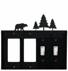 Bear & Pine Trees - Double GFI and Double Switch Cover by Village Wrought Iron. $18.32. Bear & Pine Trees - Double GFI and Double Switch CoverApprox. 8 1/4 In. W x 8 In. H Please allow 4 to 6 weeks for delivery.