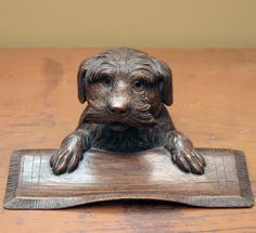 Woodard and Greenstein - Carved Wood Inkwell With Tray