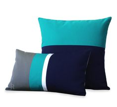 Items similar to OUTDOOR Colorblock Pillow Set - Gray, Turquoise, White & Navy - Modern Decor by JillianReneDecor - Summer Decor (Custom Colors) on Etsy Neutral Pillows, White Pillows, Diy Pillows, Sofa Pillows, Decorative Pillows, Decorative Accents, Cute Cushions, Throw Cushions, Diy Pillow Covers