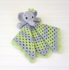 Crochet Gray Elephant with Lime and Gray by SugarandSpiceKate