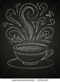 Hand drawn vector illustration of white cup and curly ornaments on blackboard. Concept image of coffeehouse, restaurant, menu, cafe, coffee shop, leisure, morning, evening, date, tea house, aroma by tukkki, via ShutterStock