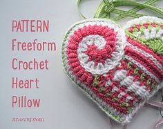 PATTERN Freeform Crochet Heart Stitch Sampler Applique Tutorial Handmade Lavender Pillow