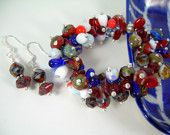 Pop Art - Sterling & Picasso Bead Bracelet set by JewelFireDesigns ~ Ahoy Summer Collection by Indie Artisans!